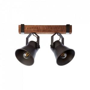 Plafoniera maro/neagra din metal si lemn cu 2 becuri Plow Brilliant