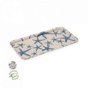Platou crem/albastru din bambus 16x30 cm Blue Sea Tray Versa Home