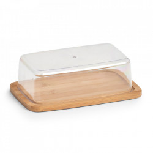 Platou cu capac maro/transparent din lemn si plastic pentru unt 12,5x19 cm Butter Zeller