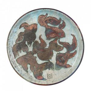 Platou decorativ aramiu din ceramica 30,5 cm Raku Versmissen