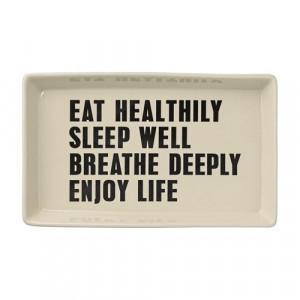 Platou dreptunghiular alb din ceramica 19x30 cm Eat healthy Bloomingville