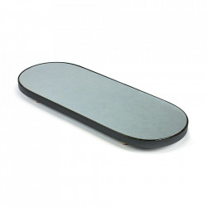 Platou oval negru din sticla si lemn 31x80 cm Moon Serax