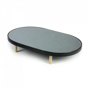 Platou oval negru din sticla si lemn 41x67 cm Moon Serax
