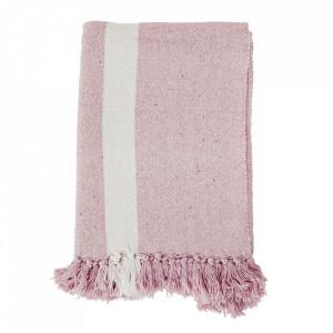 Pled roz/alb din bumbac 125x175 cm Tiset Madam Stoltz