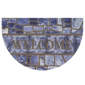 Pres albastru/maro oval pentru intrare din polipropilena 45x70 cm Dorana The Home