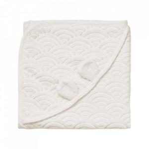 Prosop cu gluga alb din bumbac organic 80x80 cm Baby Off White Cam Cam