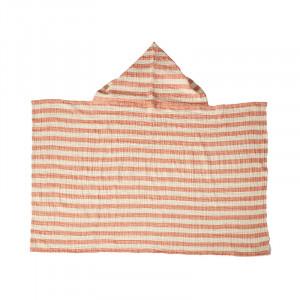 Prosop cu gluga portocaliu caisa din bumbac 89x93 cm Stripes Quax