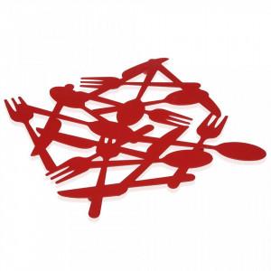 Protectie masa patrata rosie din metal 21,5x21,5 cm Cutlery Versa Home