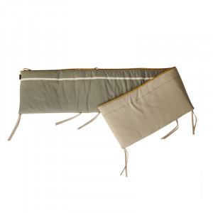 Protectie verde kaki/bej din textil pentru patut Ethnic Quax