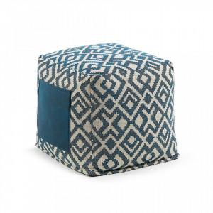 Puf albastru patrat 45x45 Malani Combination La Forma