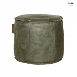 Puf rotund verde din piele 50 cm Louisiana LifeStyle Home Collection