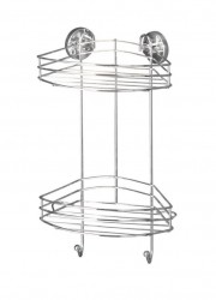 Raft argintiu din inox 23x43 cm pentru perete Vacuum-Loc Corner Two Shelves Wenko