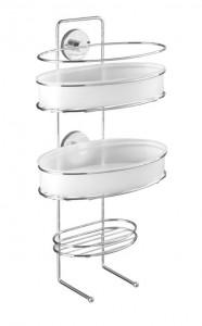 Raft argintiu din inox 26x58 cm pentru baie Vacuum-Loc Shower Milazzo Wenko