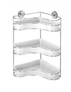 Raft argintiu din inox 35x47,5 cm pentru baie Vacuum-Loc Corner Three Floors Milazzo Wenko