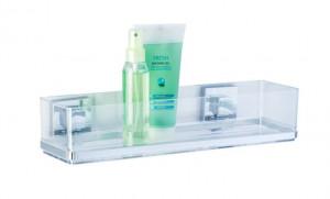 Raft argintiu/transparent din inox si plastic 8,5x38,5 cm pentru baie Vacuum-Loc Shelf Quadro Maxi Wenko