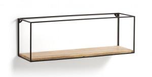 Raft maro/negru din lemn si metal 90 cm Edwina La Forma