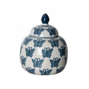 Recipient cu capac alb/albastru din ceramica 18x22,5 cm Flier Vical Home