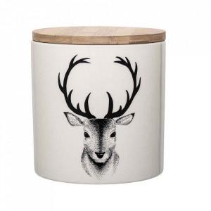 Recipient cu capac alb din ceramica Noel Bloomingville