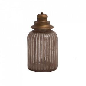 Recipient cu capac maro cupru din sticla si otel 18x30 cm Kudan Vical Home