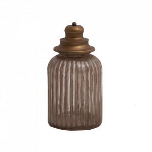 Recipient cu capac maro cupru din sticla si otel 18x34 cm Kudan Vical Home