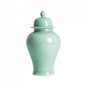 Recipient cu capac turcoaz din ceramica 30x56 cm Hades Vical Home