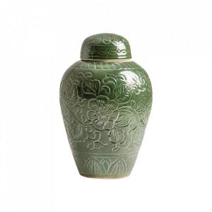 Recipient cu capac verde din ceramica 28x40 cm Cilla Vical Home