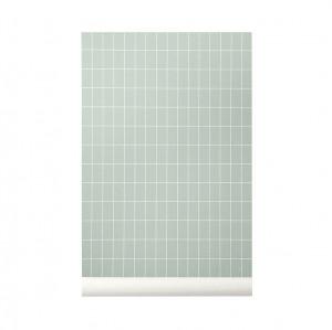 Rola tapet 53x1000 cm Grid verde/alb Ferm Living