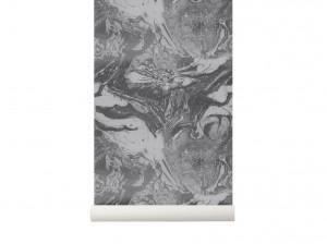 Rola tapet gri 53x1000 cm Marbling Charcoal Ferm Living
