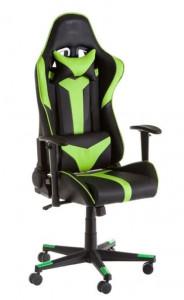 Scaun ajustabil negru/verde din piele ecologica pentru birou Gamer Studio Black Green Unimasa