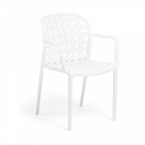 Scaun alb din plastic pentru interior sau exterior Onha La Forma