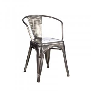 Scaun argintiu din metal cu spatar rotunjit Dallas Industrial Ixia