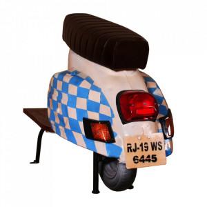 Scaun bar maro/alb din piele si metal Roller Bavarian Sit Moebel