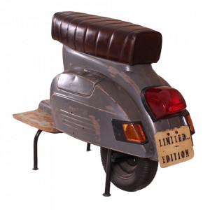 Scaun bar maro/gri din piele si metal Roller Sit Moebel