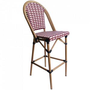 Scaun bar rosu/bej din textil si aluminiu Kora Sit Moebel