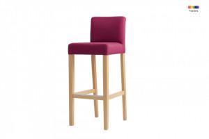 Scaun bar roz din poliester si lemn Wilton Candy Pink Custom Form