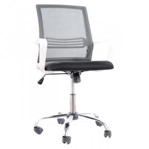 Scaun birou ajustabil alb/negru din textil si metal Q-844 Signal Meble