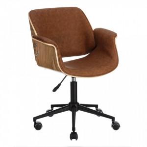 Scaun birou ajustabil maro cu roti din piele si lemn Wheels Ixia