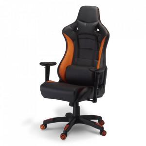 Scaun birou ajustabil negru/portocaliu din poliuretan si plastic De Luxe Furnhouse