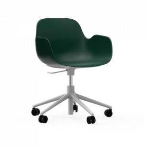 Scaun birou ajustabil rotativ verde/alb din polipropilena Form 5W Normann Copenhagen