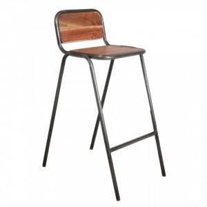 Scaun de bar maro/negru din lemn de salcam si fier Stack Raw Materials