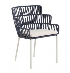 Scaun dining albastru/alb din otel si sfoara pentru exterior Robyn La Forma