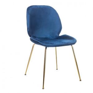 Scaun dining albastru/auriu din catifea si metal Adrien Blue Signal Meble
