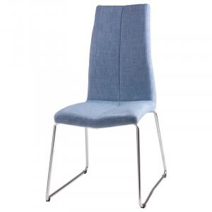 Scaun dining albastru din textil si metal Aroa Light Blue Somcasa