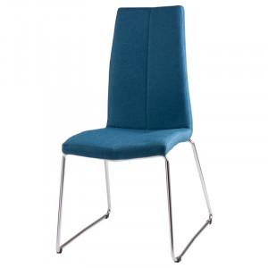 Scaun dining albastru inchis din textil si metal Aroa Dark Blue Somcasa