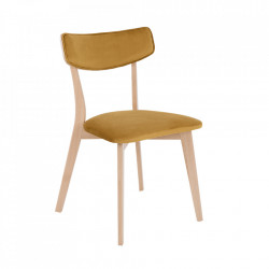 Scaun dining galben din poliester si lemn Tone Custom Form