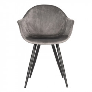 Scaun dining gri/negru din catifea si metal Forli LABEL51
