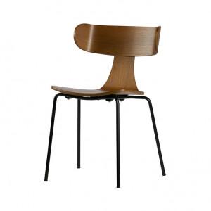 Scaun dining maro/negru din lemn si metal Form Be Pure Home
