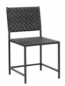 Scaun dining negru din piele si metal Buffalo Chair Nordal