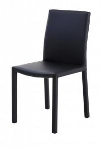 Scaun dining negru din poliuretan si metal Nunzia Zago