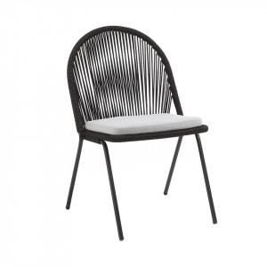 Scaun dining negru din sfoara si metal pentru exterior Stad La Forma